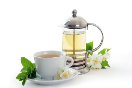 green tea with mint and jasmine