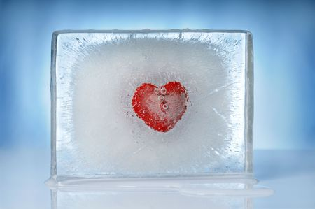 heart inside ice block