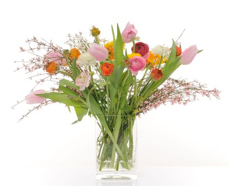 vase with spring flowers photo