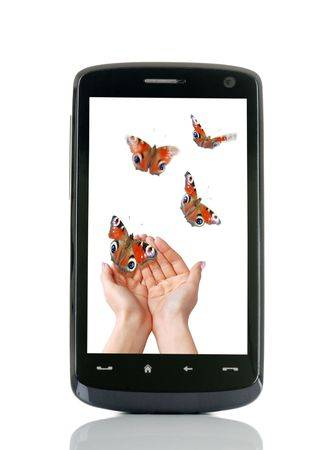 hands free phone: mobile telephone Stock Photo