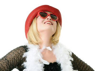 smiling woman with funny sunglasses photo