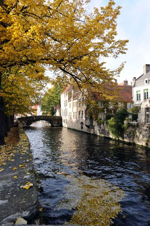 canals: autumn in Bruges Stock Photo