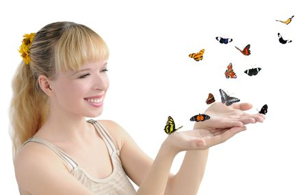 liberate: girl with many butterflies