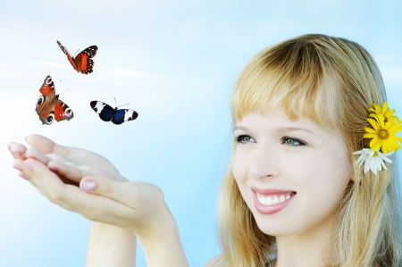 girl with butterflies photo