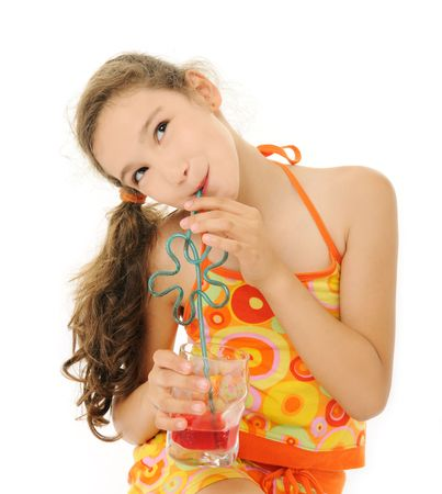 girl with red drink photo