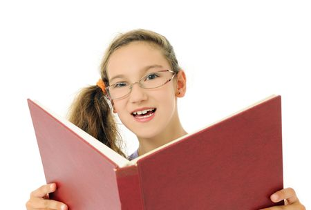 girl with open book photo