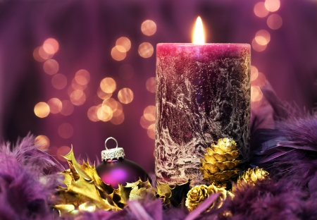 christmas still life in purple colors photo
