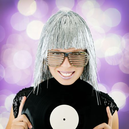 funky girl holding vinyl record photo