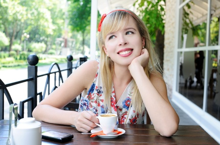 girl in cafe photo
