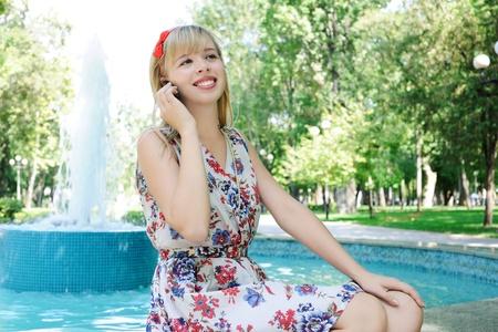 sundress: girl in the park Stock Photo