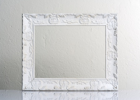 picture frame on wall: white frame Stock Photo