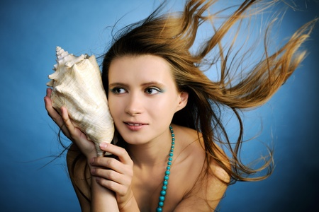 adult mermaid: beautiful girl Stock Photo