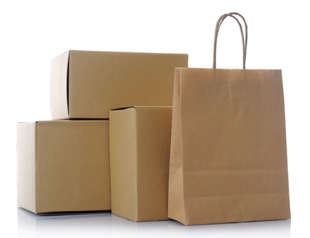 paper container: cardboard boxes Stock Photo