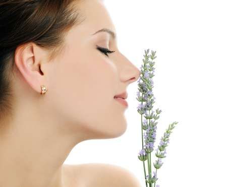 girl with lavender photo