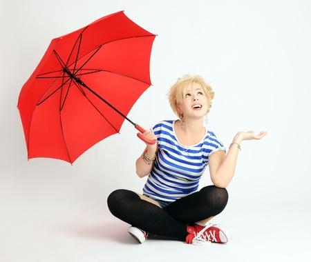 fashion shoot: girl with umbrella Stock Photo