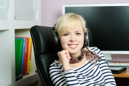 cheerful girl in headphones Stock Photo - 17498172
