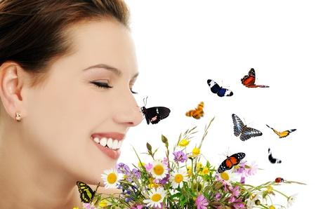 collage caras: ni�a con flores y mariposas