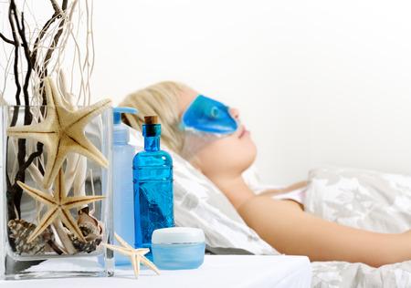 eye mask: relaxation Stock Photo