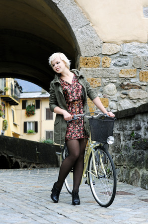 girl with a bike photo