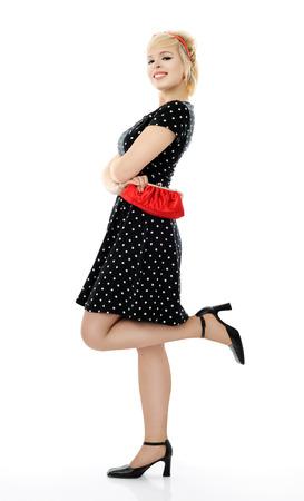 red purse: beautiful girl Stock Photo