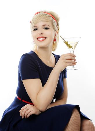 girl sit: beautiful girl with martini