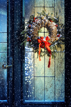 glass door: magic Christmas Stock Photo
