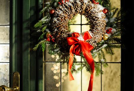 bow window: magic Christmas Stock Photo