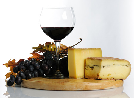 still life with wine and cheese photo