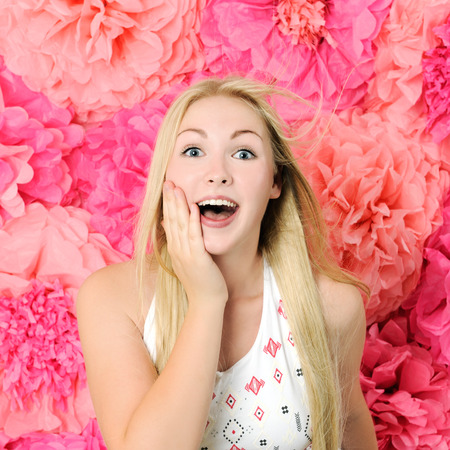 cute girl with long hair: pretty surprised girl Stock Photo