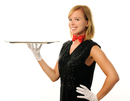 party tray: cheerful waitress