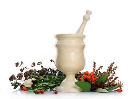 pestle: mortar and pestle with herbs Stock Photo