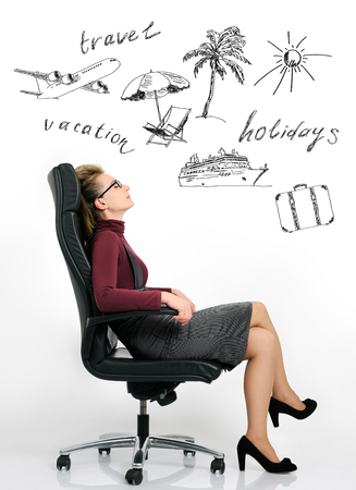 businesswoman dream about vacation