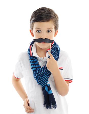 mustache: cute boy with paper mustache