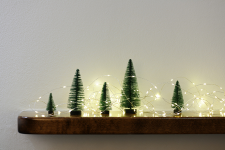 arrangement of small christmas trees