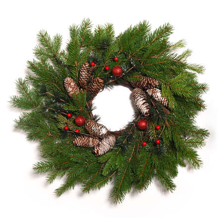 Christmas wreath close up on white background