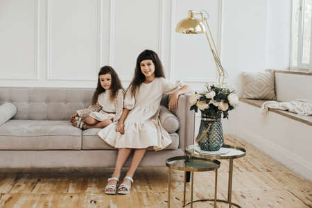 Two sisters are sitting on a sofa in a beautiful Scandinavian interior. Lovely little girls. Portrait of two dark-haired children.