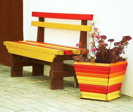 bench and flower