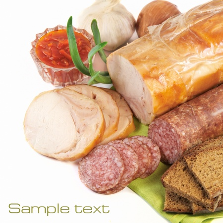 Ham and sausage Stock Photo