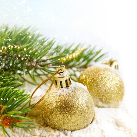 christmas magic: Gold Christmas balls