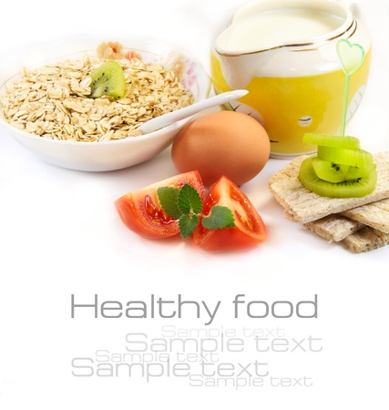 Healthy food concept on a white background