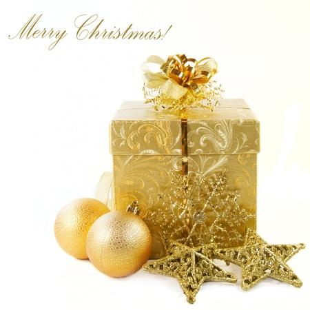Christmas gift box, balls and decorations