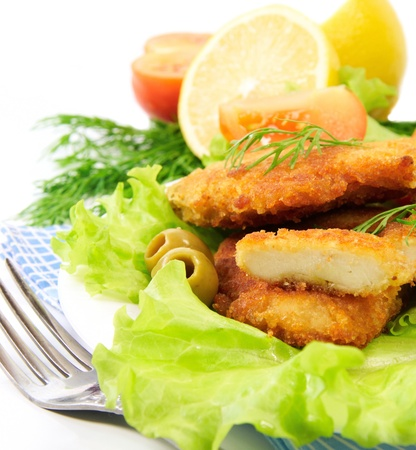 schnitzel with fresh vegetables photo
