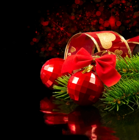 Red Christmas baubles Stock Photo - 11369676