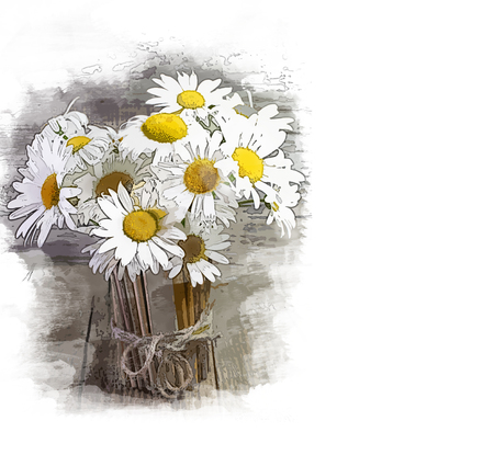 Sketch. Beautiful daisies in a wooden vase.