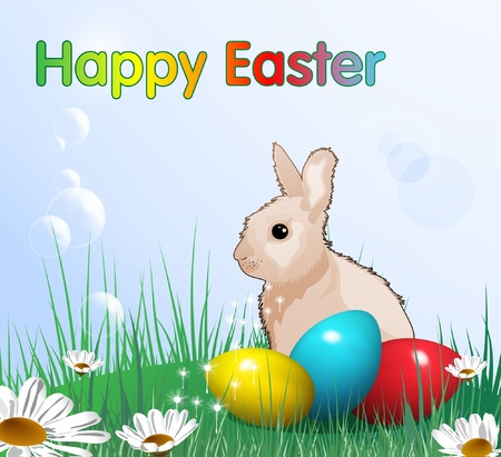Easter card with rabbit, eps10 format  Illustration