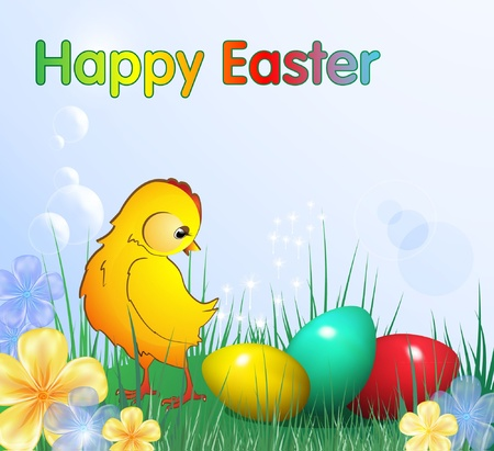 Easter card with chicken, eps10 format