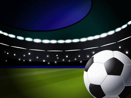 soccer ball on the stadium with lighting, eps10 format  Illustration