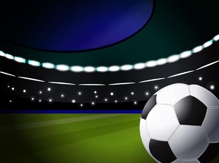 voetbal bal op het stadion met verlichting, eps10 formaat Vector Illustratie