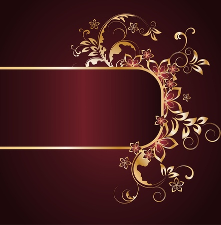 metal spring: golden floral background  Illustration