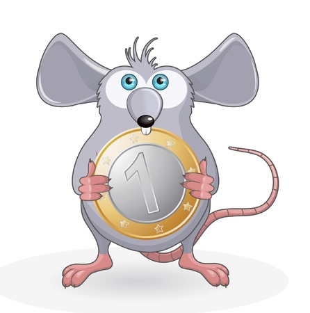 Funny rat with coin